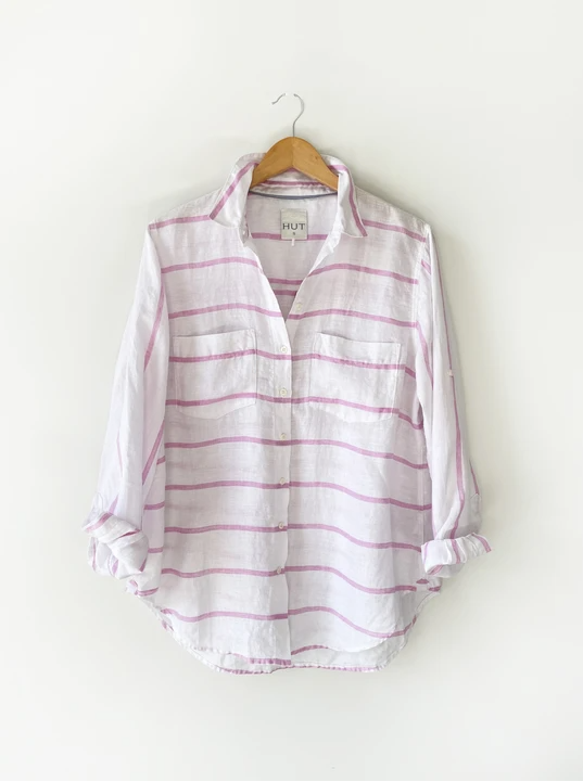 HUT BOYFRIEND SHIRT MUSK PINK STRIPE