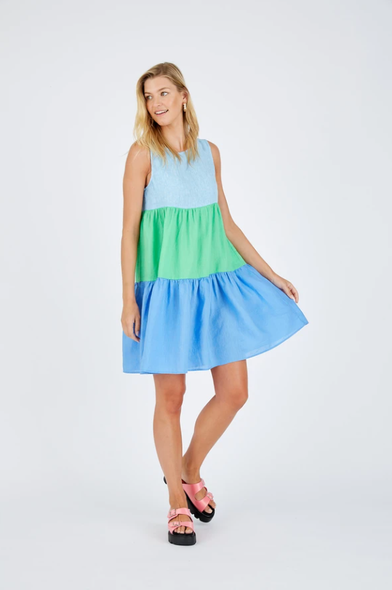 ALESSANDRA PICNIC SPLICE DRESS - AZURE