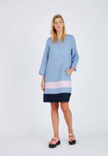 ALESSANDRA L/S CONNIE DRESS - BLUE