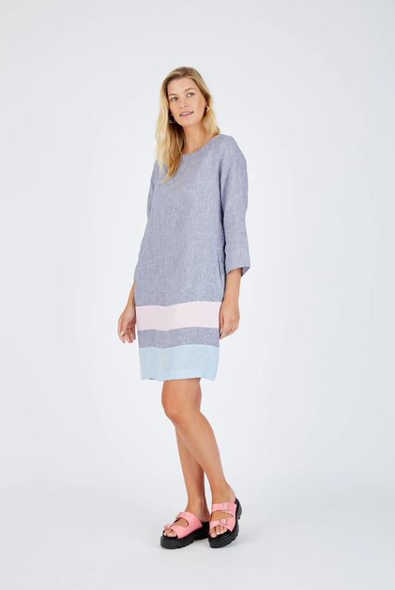 ALESSANDRA L/S CONNIE DRESS - HOUNDSTOOTH