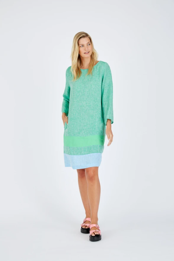 ALESSANDRA L/S CONNIE DRESS - SNOWPEA