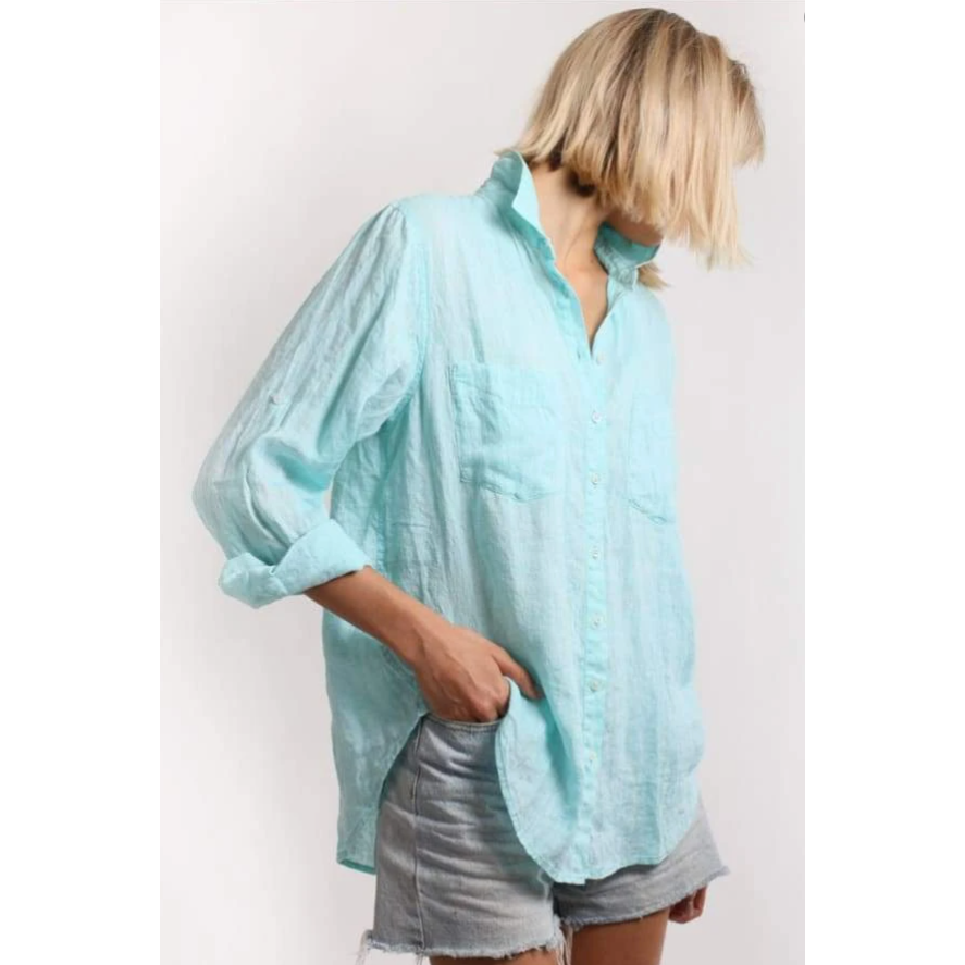 HUT BOYFRIEND LINEN MINT CHAMBRAY SHIRT