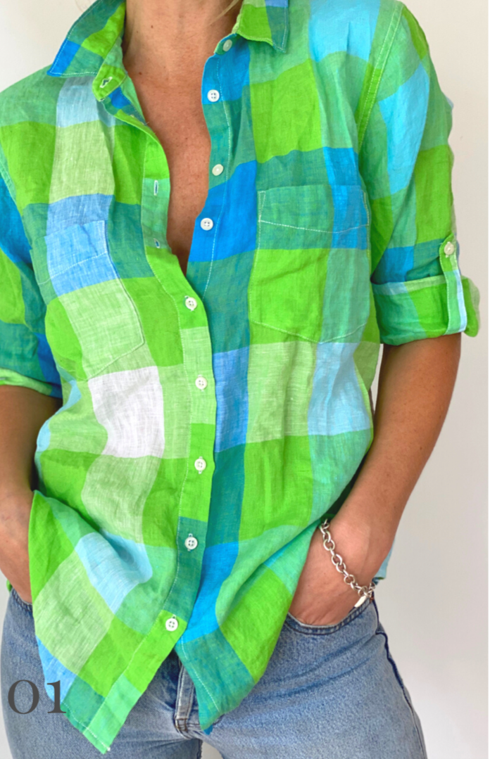 HUT BOYFRIEND LINEN SHIRT GREEN/BLUE PLAID