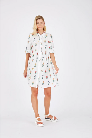 ALESSANDRA TOFFEE DRESS FLORAL - WHITE