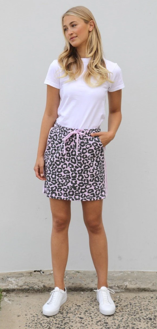 EST 1971 SKIRTY MIDI LEOPARD POWDER PINK