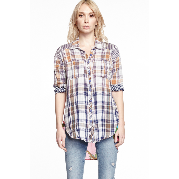 ARATTA HIBISCUS SHIRT WASHED PLAID