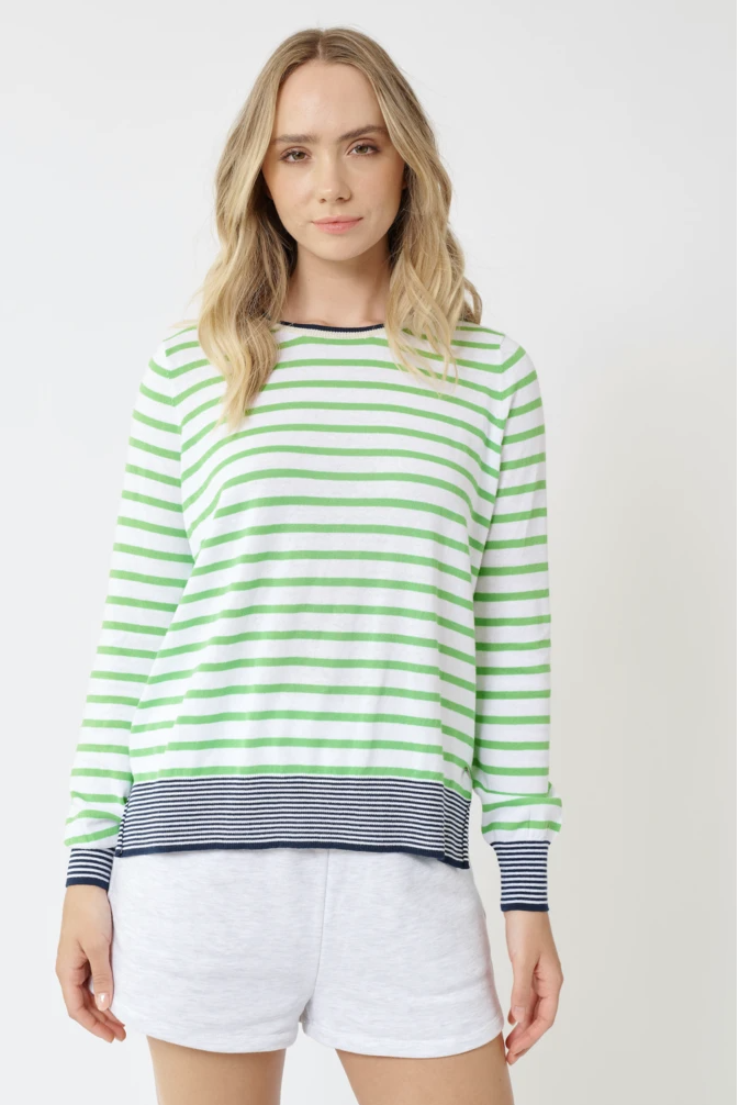 ALESSANDRA CHERIE AMOUR SWEATER - WHITE/SPEARMINT