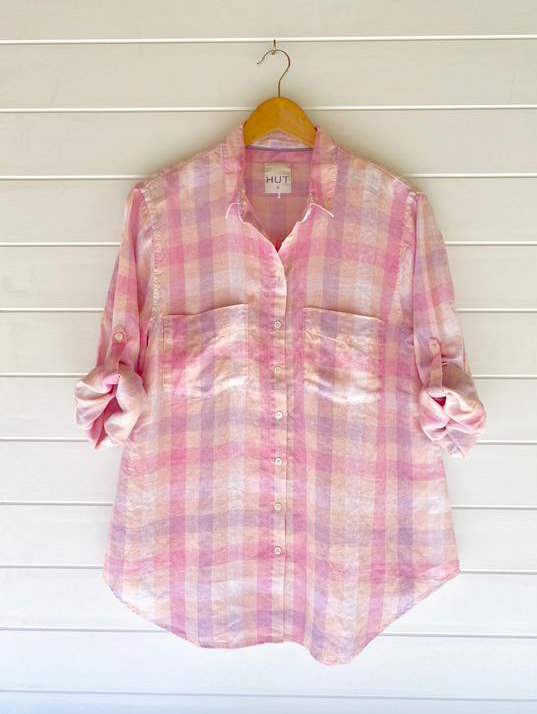 HUT CLOTHING BOYFRIEND SHIRT PINK PLAID