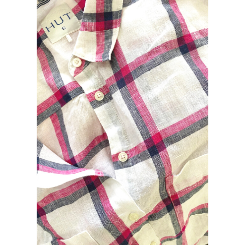 HUT CLOTHING PINK/NAVY CHECK SHIRT