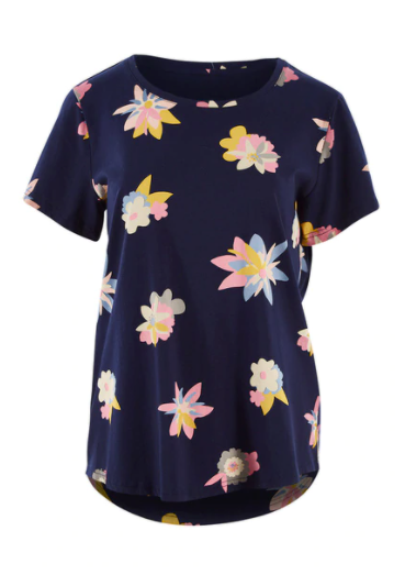 ELM LIFESTYLE ABSTRACT FLORAL S/S TOP