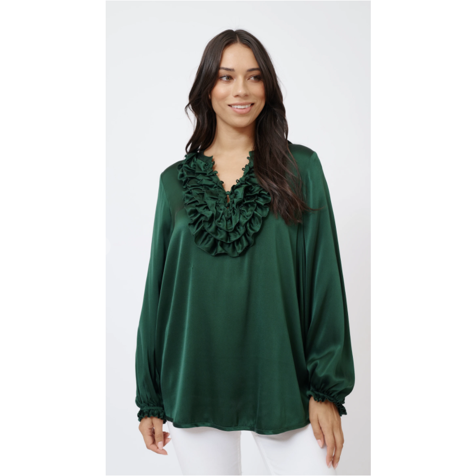 ALESSANDRA SILKY KEIRA SHIRT - FOREST