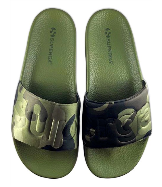 SUPERGA GREEN CAMO SLIDE