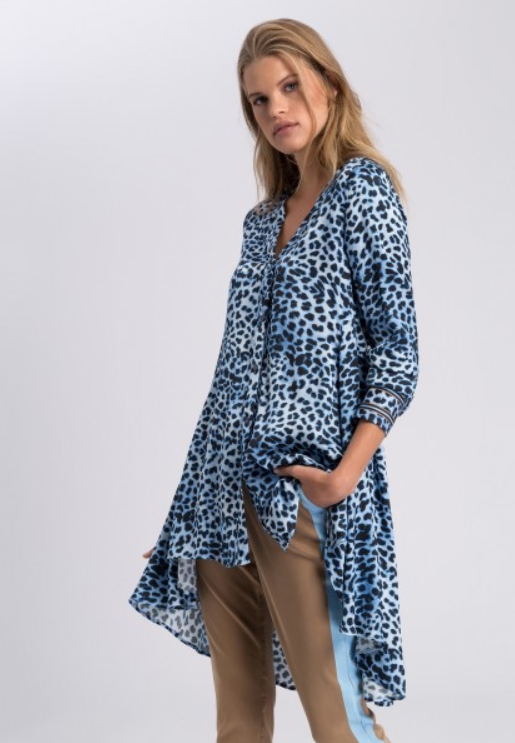 MARC AUREL BLOUSE 242026242 BLUE LEOPARD