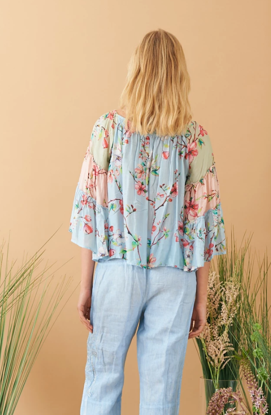 RUBYYAYA - LILY PATCH TOP BLUE