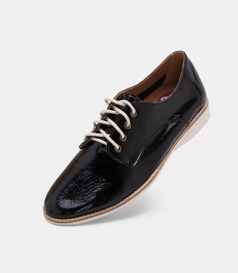 ROLLIE Derby Unlined Black Patent Crinkle Leather