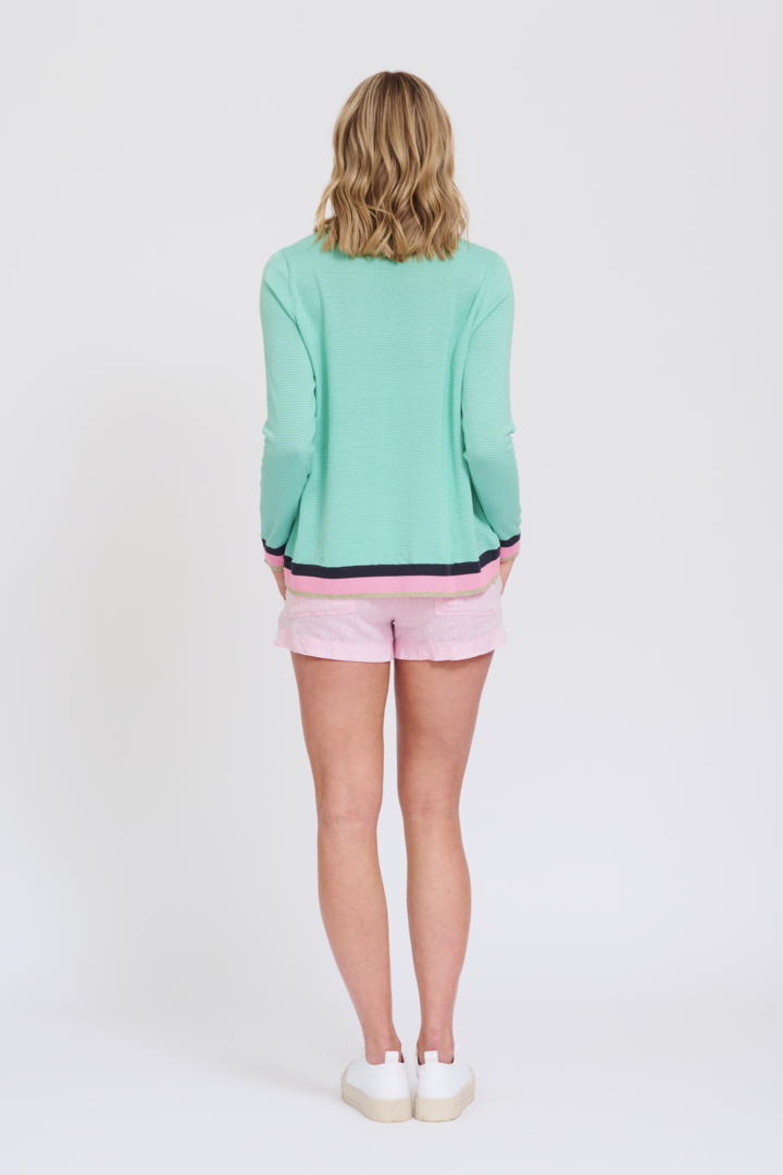 ALESSANDRA STRIPEY BOATER SWEATER IN SPEARMINT