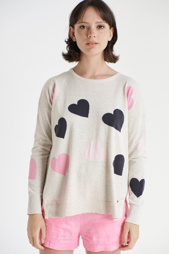 ALESSANDRA HEARTS A MESS SWEATER IN SILVER/NAUTICAL