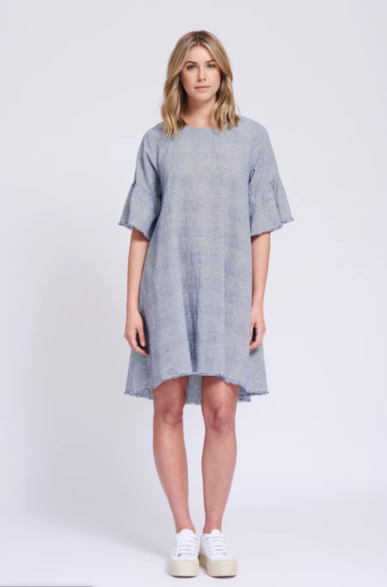 ALESSANDRA FRAYED EDGE DRESS
