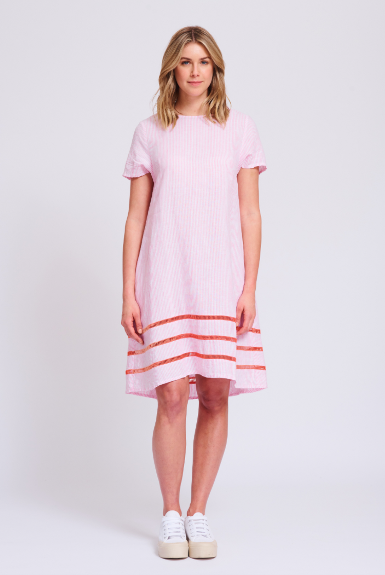 ALESSANDRA MONACO SWING DRESS - PINK STRIPE