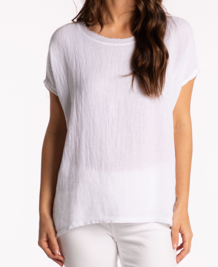 RIDLEY LINEN TOP CAP SLEEVE 39163