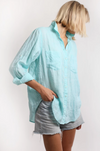 HUT LINEN BOYFRIEND SHIRT - MINT