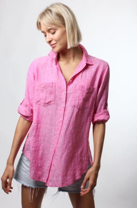 HUT CLOTHING LINEN BOYFRIEND SHIRT - PINK CHAMBRAY