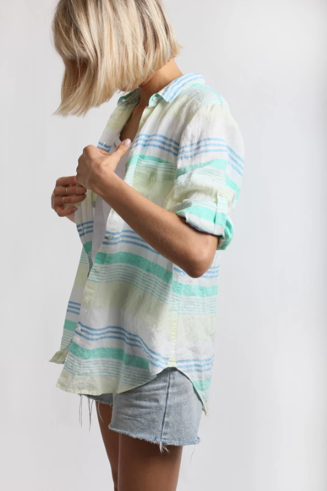 HUT LINEN BOYFRIEND SHIRT - MULTI STRIPE