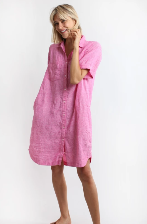 HUT EVERYDAY SHIRT DRESS - PINK CHAMBRAY