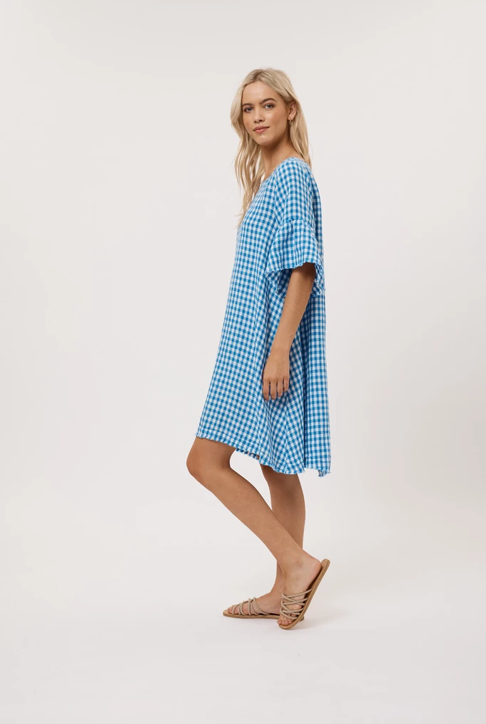 ALESSANDRA GINGHAM DRESS BLUE