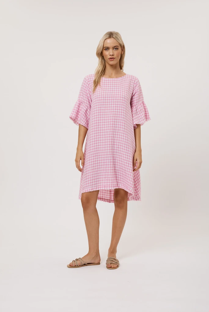 ALESSANDRA GINGHAM DRESS PINK