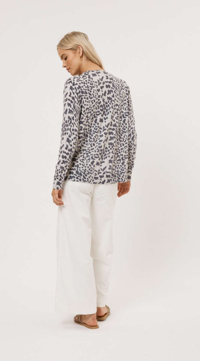 ALESSANDRA LEOPARD CINDY SWEATER - LATHER