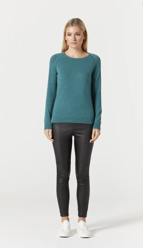 CABLE PURE CASHMERE CREW JUMPER - SEA GREEN