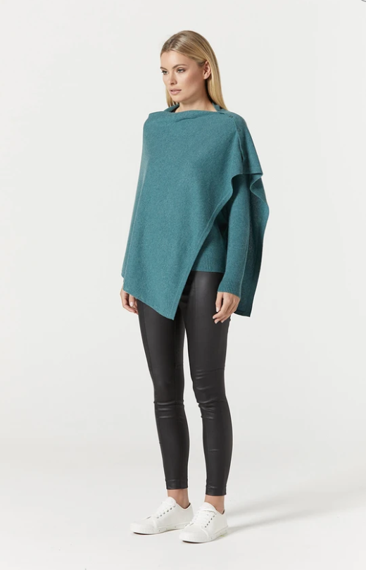 CABLE PURE CASHMERE BUTTON PONCHO