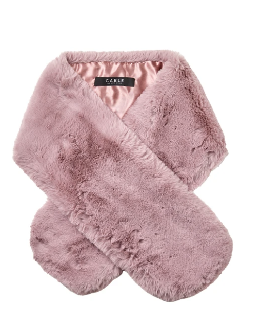 CABLE FAUX FUR COLLAR ROSE