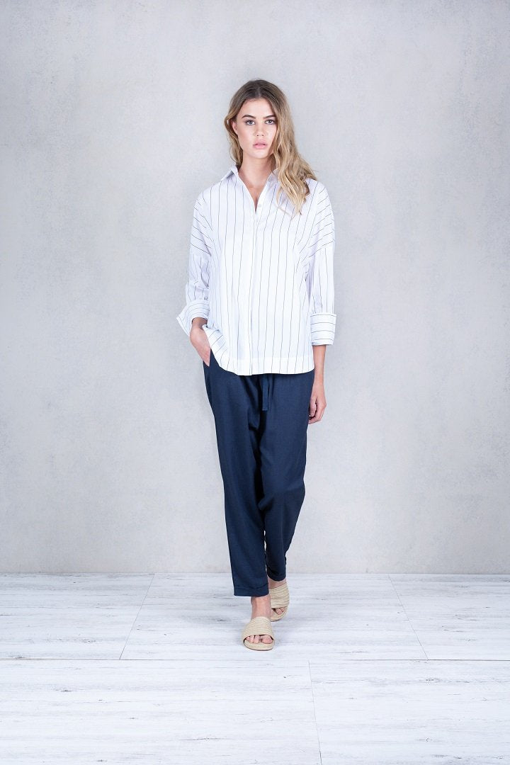CONCHITA PINSTRIPE BOX CUT TOP