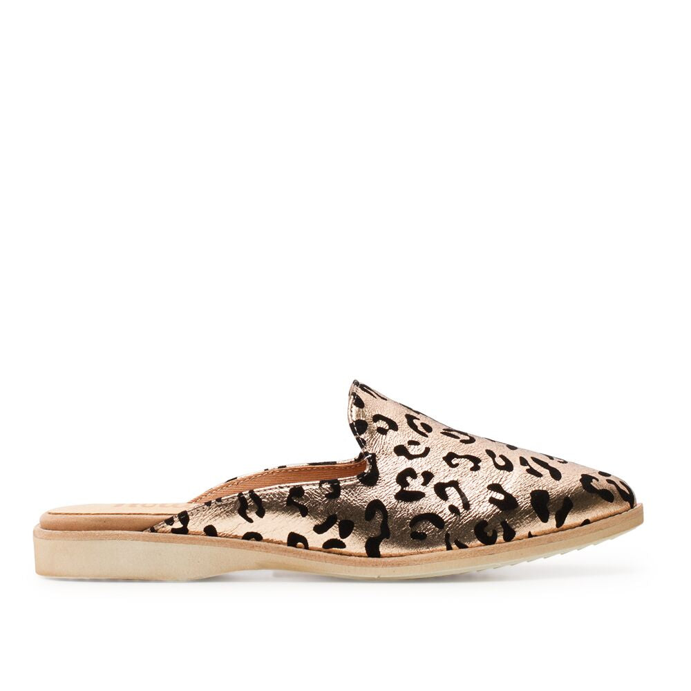 ROLLIE MADISON MULE ROSE GOLD LEOPARD