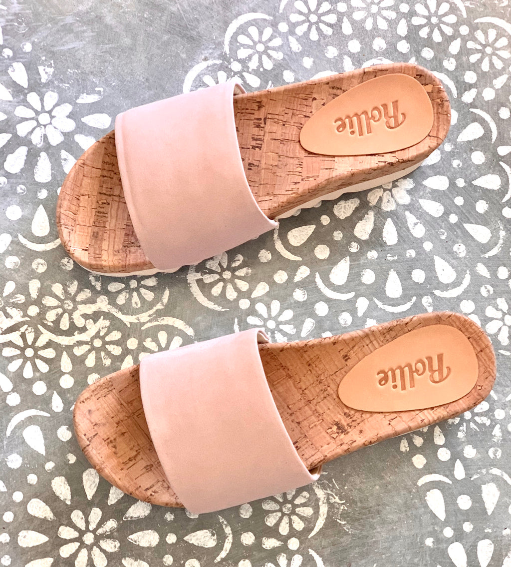 ROLLIE SANDAL SLIDE TOOTH WEDGE SNOW PINK