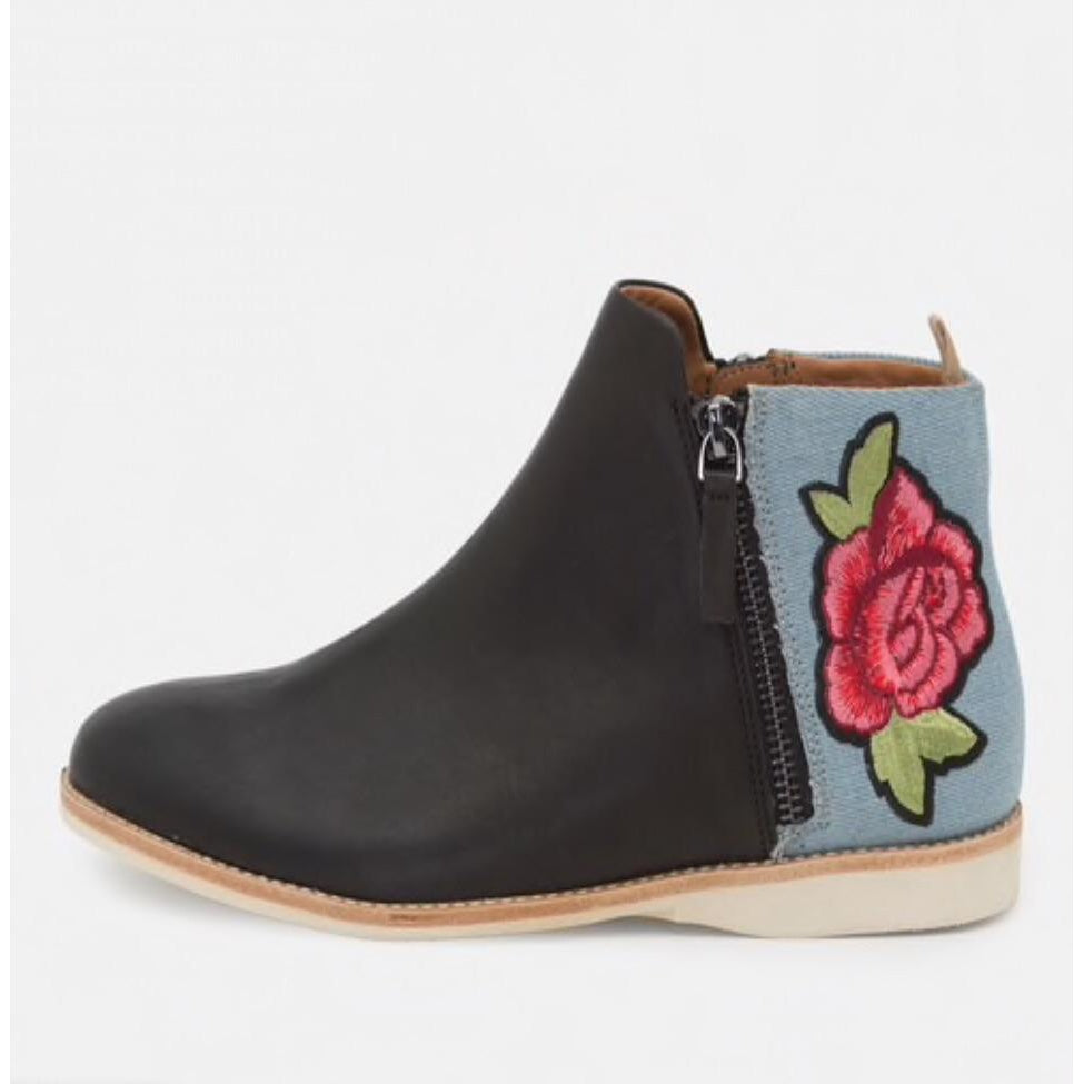 ROLLIE SIDE ZIP BOOT BLK/DENIM