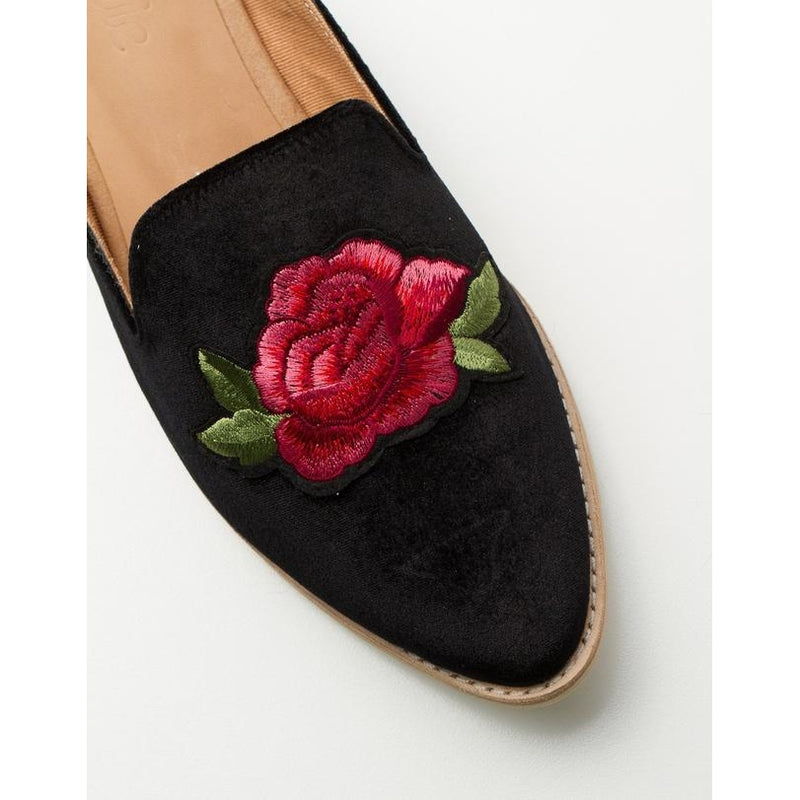 ROLLIE Madison Mule Black Velvet with Rose Patch