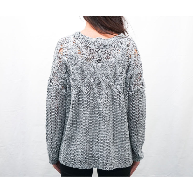 LAUREN VIDAL GREY CHUNKY KNIT