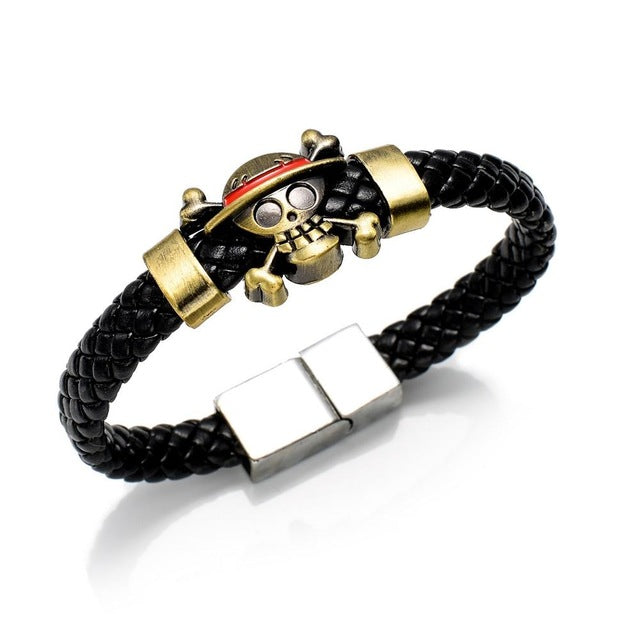 Black Leather One Piece Bracelet - Gaming Raid
