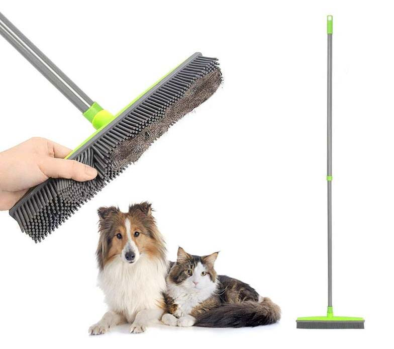 Pet Hair Remover Rubber Broom