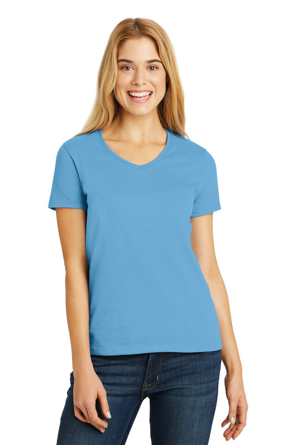 Hanes® Ladies Tagless® 100% Cotton V-Neck T-Shirt. 5780