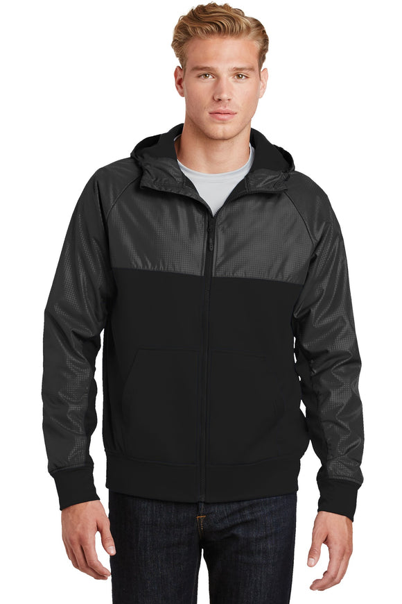 Sport-Tek® Embossed Hybrid Full-Zip Hooded Jacket. JST50