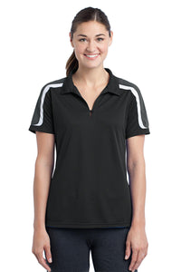 Sport-Tek® Ladies Tricolor Shoulder Micropique Sport-Wick® Polo. LST658