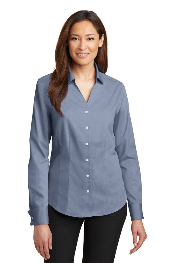 Red House® - Ladies French Cuff Non-Iron Pinpoint Oxford Shirt. RH63