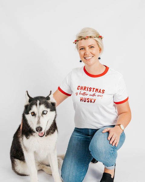 Christmas Husky Breed Illustration Ringer T-Shirt