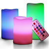 Image of Multi Color Flameless Wax Candles Set of 3 with Remote and Timer