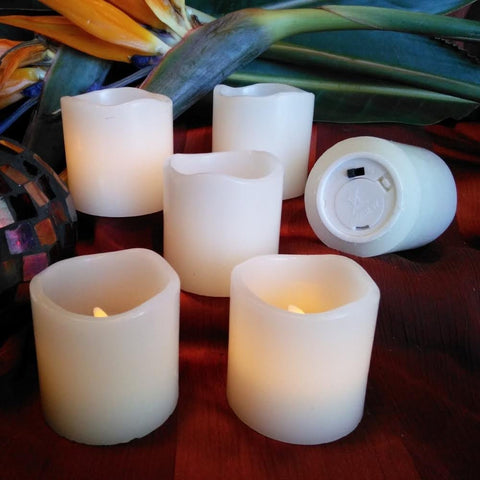 Set of 6 Flameless Wax Votive Candles with Amber Yellow Flame