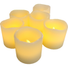 "Image of Set of 6 Votive 2""x 2"" Ivory Wax with Amber Yellow Flame"